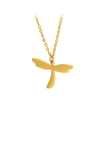 Glamorousky silver Fashion and Elegant Plated Gold Dragonfly 316L Stainless Steel Pendant with Necklace E60CBAC869AE79GS_1