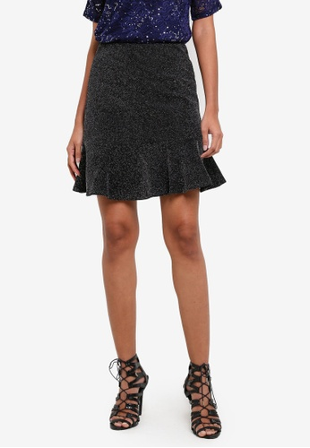 Dorothy Perkins black Shimmer Peplum Mini Skirt DO816AA0S7B2MY_1