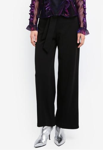 Miss Selfridge black Petite Wide Leg Tie Trousers MI665AA0SIT3MY_1