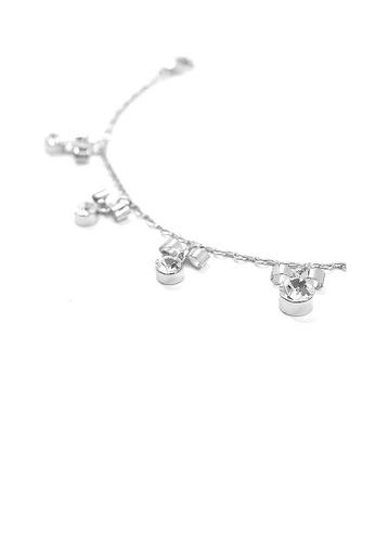 Glamorousky silver Elegant Ribbon Anklet with Silver Austrian Element Crystals B6720ACA0286E4GS_1