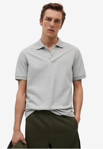 MANGO Man grey Technical Cotton Piqué Polo Shirt DB10AAA437383DGS_1