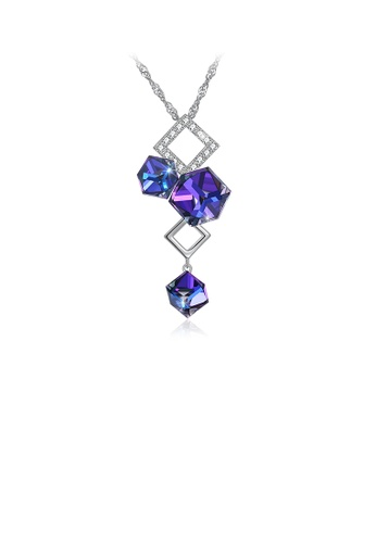 Glamorousky blue 925 Sterling Silver Elegant Fashion Geometric Cube and Square Pendant Necklace with Cubic Zircon EEE10AC3AB8A95GS_1