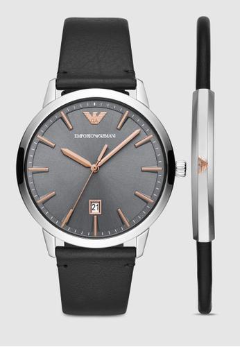 9892af101f73a Emporio Armani black Black Leather Watch Gift Set AR80026 32113AC8C53511GS_1