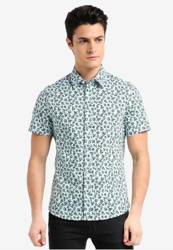 Burton Menswear London green Teal Short Sleeve Dash Print Shirt F800BAAAFE79A5GS_1