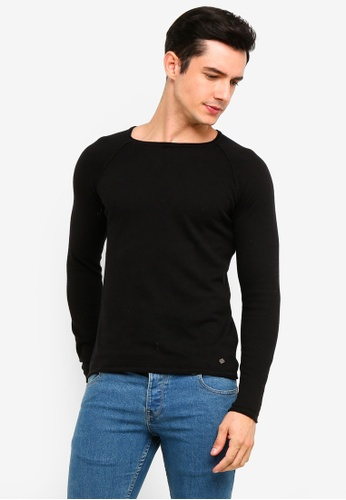 !Solid 黑色 Stamos Mix 絲綢Raglan 針織Sweater 12552AA395DE4CGS_1