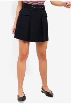 701870913 ESPRIT navy Woven Mini Skirt 49CAEAA80B383AGS_1