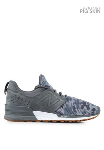 New Balance grey 574 Sport Camo Edition Lifestyle Sneakers FA338SHBF14A68GS_1