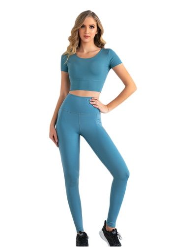 B-Code blue ZUU3019-Lady Quick Drying Running Fitness Yoga Leggings-Blue 22598AAC464F7CGS_1