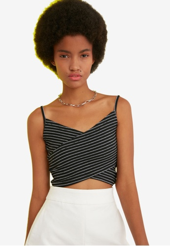 Trendyol black Striped Cami Crop Top D1488AA2CC07E0GS_1