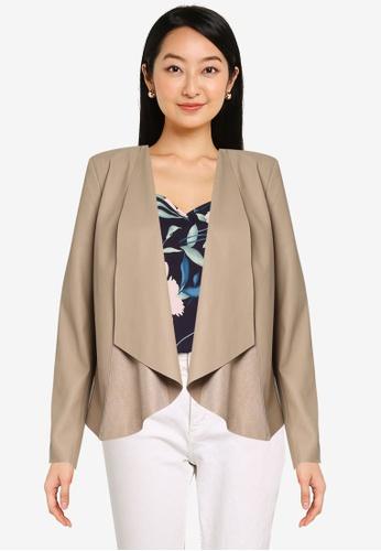 ONLY beige Liana Drape Faux Leather Jacket 3576BAA80528C4GS_1