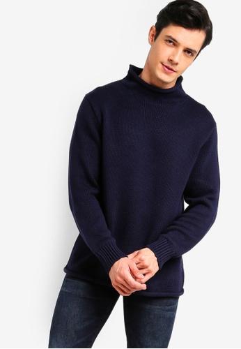 J.Crew 海軍藍色 經典高領針織衫 4F665AA11689A5GS_1