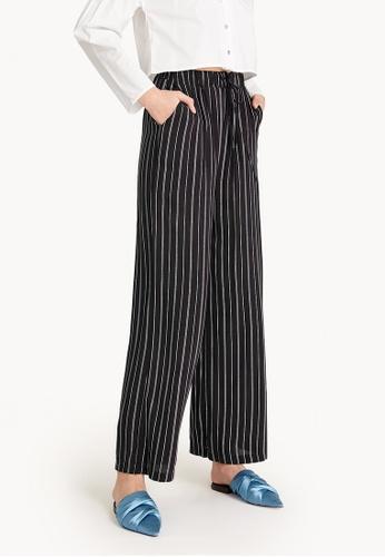 Pomelo black Pinstriped Wide Leg Pants A8767AAB8E56BDGS_1