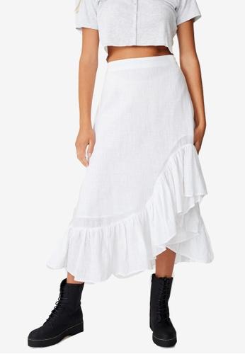 Cotton On white Atlas Ruffle Midi Skirt 403C4AA30C1BCCGS_1