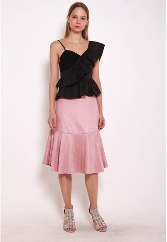 Leline Style pink Kiana Seude Ruffles Skirt LE802AA0GN0XSG_1