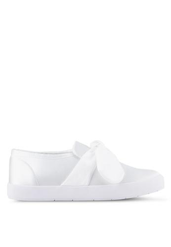 Velvet white Bow Detail Slip on 72112SHB6FA873GS_1
