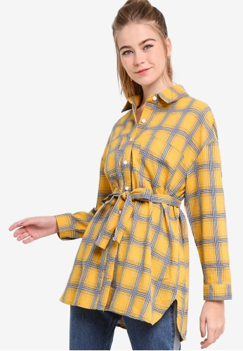 Something Borrowed yellow Oversized Shirt With Self Tie CFFCDAAF0BFF25GS_1