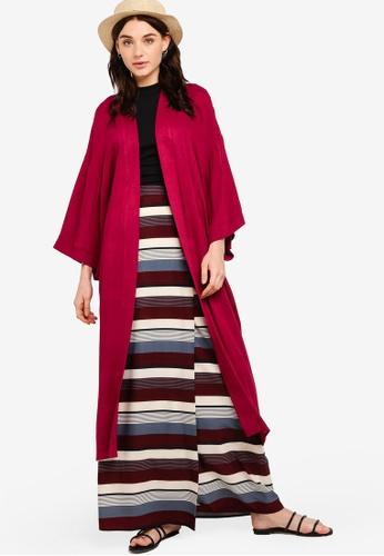 Zalia red Midi Kimono Cardigan 2CCEDAA29D0DC3GS_1
