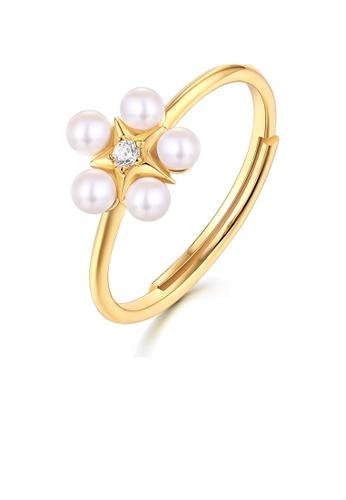 SUNSET 金色 Premium 925 Sliver Pearl Ring 8D8FCACD3B378CGS_1