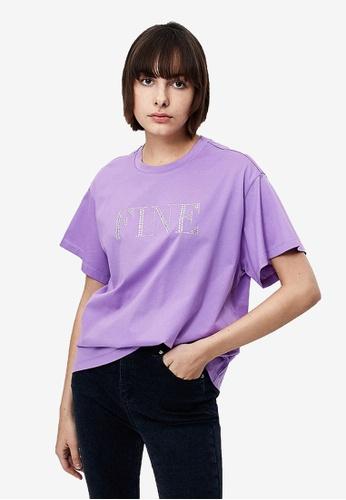 URBAN REVIVO purple Simple Loose T-Shirt 377C8AAC5639FCGS_1