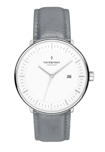 Nordgreen grey and silver Nordgreen Philosopher Silver 36 mm - Grey Leather Watch 7EDAFACE8FC5B4GS_1