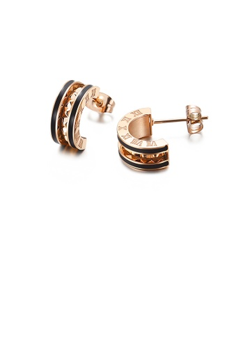 Glamorousky silver Fashion Simple Plated Rose Gold Roman Numerals Black Edge Geometric Semicircle 316L Stainless Steel Stud Earrings B6961AC594729AGS_1