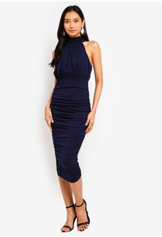 ad1d784c63 AX Paris navy High Neck Ruched Dress 1DBFBAAEBCDA35GS 1