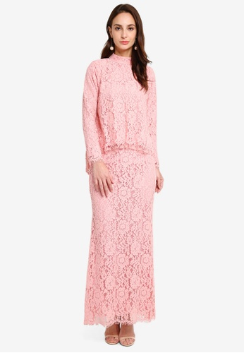 Ballerina Kapit Strawberry Kurung from GHAANIA in Pink
