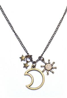 Stars Moon Sun Long Necklace