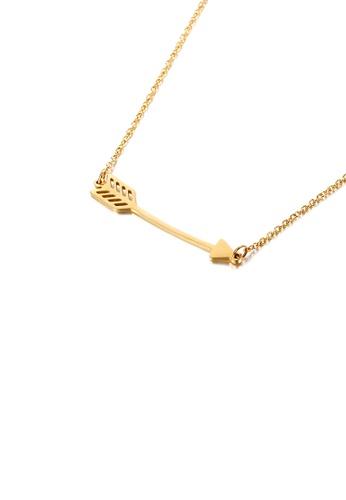 Glamorousky 銀色 簡約時尚鍍金色丘比特之箭316L鋼吊墜配項鏈 7510BACD863EECGS_1