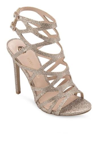 閃飾蛇紋羅馬zalora時尚購物網的koumi koumi高跟涼鞋, 女鞋, 鞋