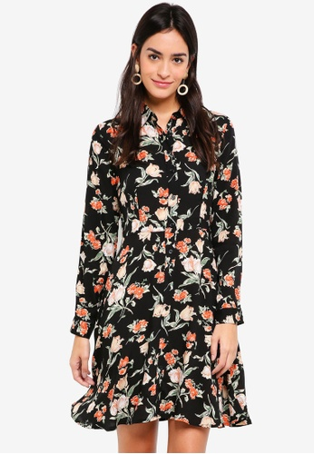ZALORA multi Long Sleeves Fit & Flare Shirt Dress 00D8CAAEC575E4GS_1