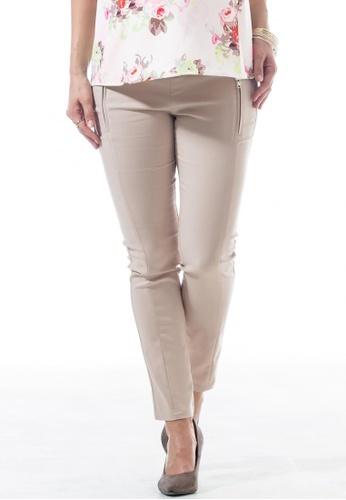 Bove by Spring Maternity beige Woven Celine Slim Straight Pants Beige (IB4801) BO010AA02EPTSG_1