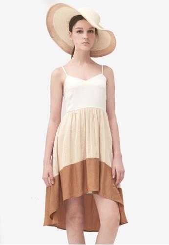 Kodz white Colourblock Waterfall Dress B03F0AA9D5E6A3GS_1