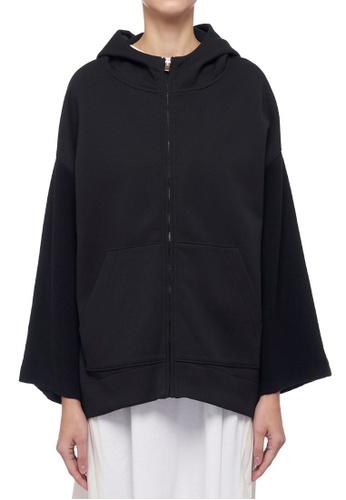 CK CALVIN KLEIN black Cotton Spacer With Mercerised Wool Hooded Jacket D688DAA4A62566GS_1