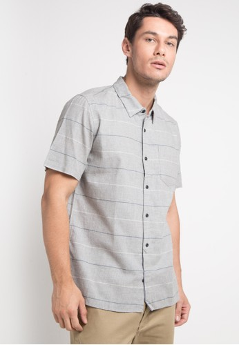 hurley multi and grey Clifton Woven Top Short Sleeve Shirt 78E7EAA6F787DBGS_1