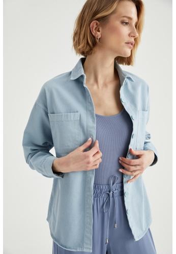 DeFacto blue Long Sleeve Shirt Jacket AC9CEAACD2B70EGS_1