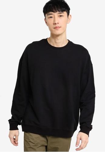 ZALORA BASICS black Terry Oversized Sweatshirt 049A3AAADAB7F3GS_1