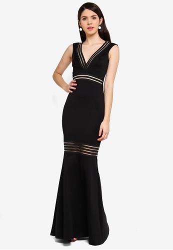 Goddiva 黑色 Elastic 條紋長洋裝 BD5D2AA32A3D2EGS_1