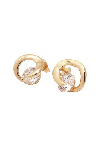 Jaysa Collection gold 18k Rose Gold Curl Earrings with AAA Zirconia JA875AC0FJTWSG_1