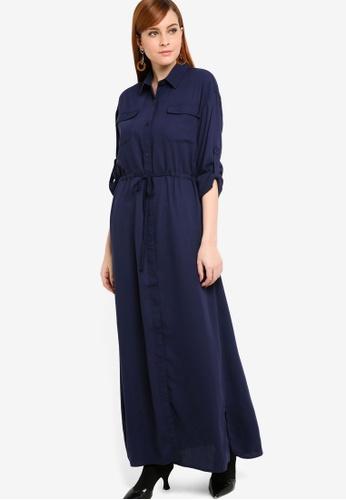 Zalia navy Drawstring Shirt Dress 0838FAA40272DDGS_1