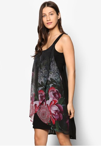 Giorgia 印花褶飾無esprit門市地址袖連身裙, 服飾, 洋裝