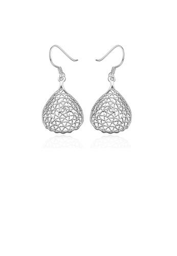 Glamorousky silver Fashion Simple Hollow Water Drop Shaped Earrings 983AAAC1F5A5B4GS_1