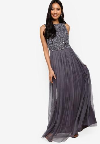 ab1b911b6dc Buy Lace   Beads Hemingway Embellished Sleeveless Maxi Dress Online ...