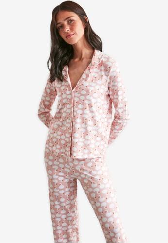 Trendyol pink 2-Piece Swan Print Pajamas Set 6B752AAE549E78GS_1