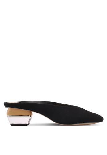 Mango black Combined Heel Suede Mule 8BF96SH781ECB1GS_1