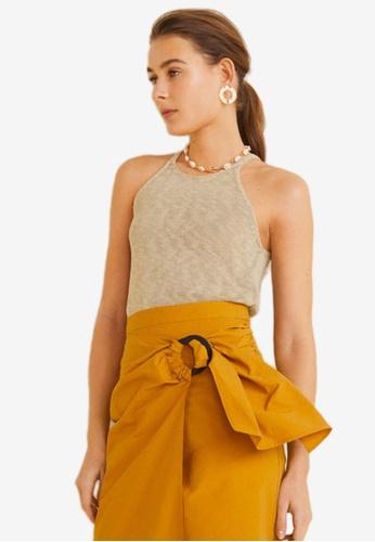 Mango brown Cotton Linen-Blend Top 20528AA37CBF63GS_1