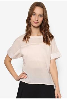 【ZALORA】 Angela 透視圓領短袖襯衫