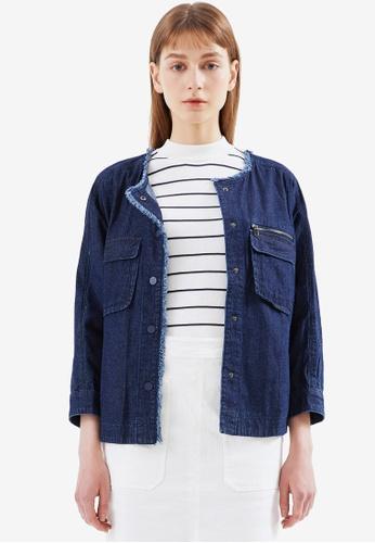 Hopeshow 藍色 Frayed Hem Snap Button Denim Jacket 01699AA38C2A8DGS_1