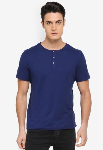 MANGO Man blue Slub-Cotton Henley T-Shirt 791C1AA3835D3DGS_1