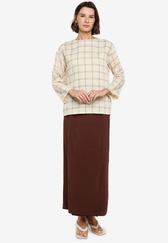 ZALIA BASICS brown Top with Pencil Skirt Set 5E0AEAA39507BCGS_1